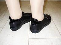 Т645- Слипоны женские черные на шнуровке