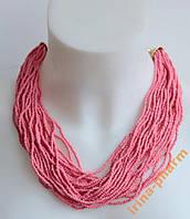 Женское ожерелье из бисера (AL-10612 Розовый)