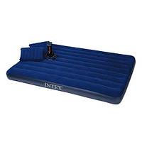Надувной матрас Intex с насосом и подушками 152х203см