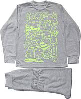 Пижама для мальчика, серая с зелеными чудиками, рост 116 см, Robinzone