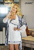 Красивый атласный халат мини/миди/макси.ОНИКС принт FLEUR Lingerie