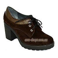 Женские коричневые замшевые туфли на шнуровке, устойчивый каблук, фото 1