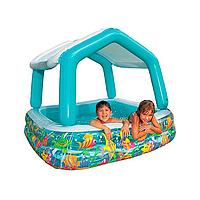"""Надувной детский бассейн Intex 57470 """"Квадратный со съёмной крышей"""""""
