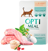 Консерва для котов Optimeal с кроликом в белом соусе