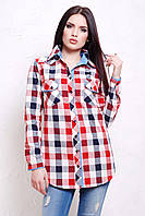Модная женская рубашка в клетку свободного кроя
