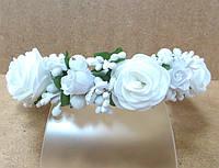 Обруч веночек ручной работы белые розочки
