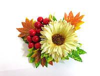 Заколка ручной работы, золотая осень, бежевая хризантема, листья и калина