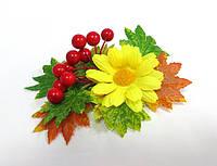 Заколка ручной работы, золотая осень, желтый цветок, листья и калина