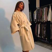 Пальто  средней длины с широким  рукавом
