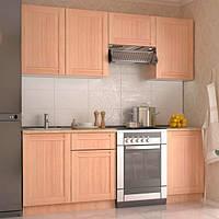 Модульная кухня МДФ  2,1 метра из 6 модулей, молочный дуб (кухонный комплект мебели)