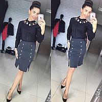 """Красивая юбка в классическом стиле """"Машинная вязка, декорирована пуговицами"""" РАЗНЫЕ ЦВЕТА"""
