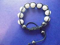 Браслет Шамбала диаметр бусины- 12мм  Серебристый