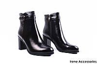 Ботинки женские кожаные Geronea (ботильоны стильные, каблук, байка, черные)