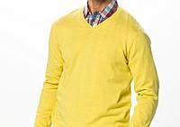 Мягкий пуловер (свитер) желтый 100% шерсть