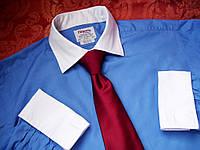 Оригинальная синяя с белым рубашкаTW Lewin Р.16,5