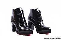 Ботильоны женские лаковая кожа Deenoor (ботинки стильные, шикарные, каблук, байка, черные)