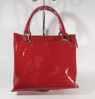 Кожаная женская сумочка, саквояж  Voee Vodd 8153-1 красный лаковый