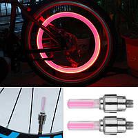 Подсветки 2шт  LED на нипель велосипедных колес одноцветные с полосками КРАСНЫЕ SKU0000306