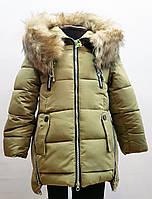 Модная зимняя куртка-полупальто для девочки 5-10лет цвет - оливковый