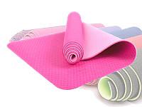 Коврик для йоги и фитнеса Yoga mat ТРЕ Eco 6 мм розовый