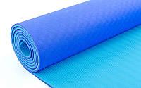 Коврик для йоги и фитнеса Yoga mat ТРЕ Eco 6 мм голубой-синий