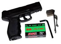 Пневматический пистолет KWC KM 46: ствол 89 мм гладкий, газ СО2 12г, 110 м/с, 19 пуль, 2,5 Дж