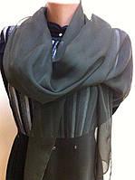 Темно зеленый шарф   из шифона