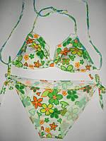Женский купальник с завязками салатовый XL