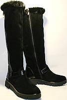 Сапоги зимние женские Olli 49-2450 черные, замша, танкетка 4 см, замочек до верха, мех до верха.