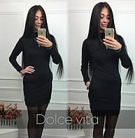 Короткое черное платье с длинным рукавом дв-905