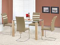 Стеклянный кухонный стол Halmar Maxwel на четырех ламинированных ножках