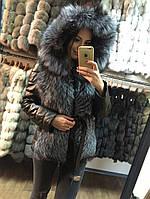 Куртка кожаная с мехом чернобурки рукав отстегивается, по акции!