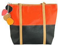 Яркая женская сумка из искусственной кожи 7240-21 черный с оранжевым