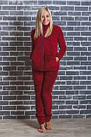 Махровая женская пижама бордо, фото 1