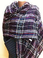 модный шарф палантин в  клетку   из хлопка   легкая жатка