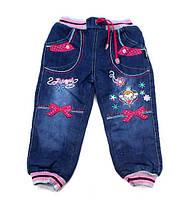 Детские теплые джинсы махра для девочки 1-6 лет