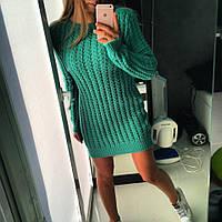 Короткое теплое платье крупная вязка