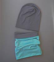 Демисезонный комплект на ребеночка мята с серым. ОГ 50-52, 52-54 см