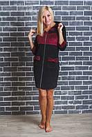 Домашний женский велюровый халат черный+бордо, фото 1