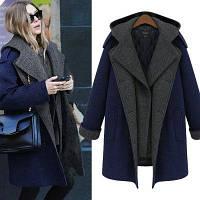 Кашемировое двухцветное пальто с капюшоном
