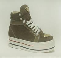 Ботинки замшевые на платформе, бежевые