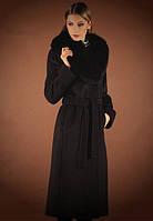 Кашемировое пальто с потайной застежкой и шикарным меховым воротником