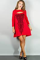 Женское стильное платья с накаткой цвет красный размер 44-54