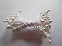 Тычинки для цветов круглые,  упаковка - 50 шт. (пучок из 25 двухсторонних нитей). Белые