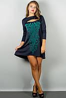 Женское стильное платья с накаткой цвет синий размер 44-54