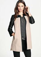 Комбинированное пальто на молнии с кожаными вставками