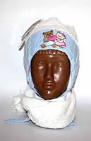 Шапка зимняя вязанная на травке + шарф для девочки р42-44, 6-9 мес