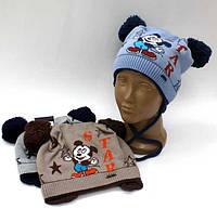 """Шапка зимняя вязанная на флисе """"Микки Маус"""" для мальчика 1-3 года, р46-50"""