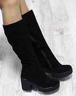Зимние натуральные замшевые сапоги с молнией по всей длине на удобном каблук  черного цвета