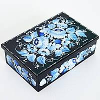 Украинские сувениры. Расписная шкатулка. Райская гжелка